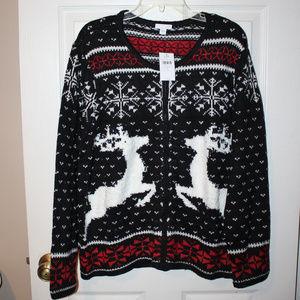 J. Jill wool blend Christmas sweater L NWT